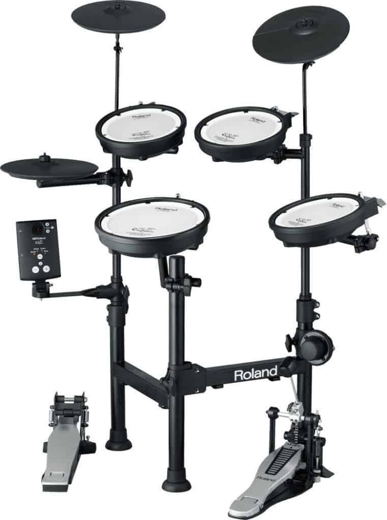 An Electronic Drum Set with Mesh and Rubber Surfaces